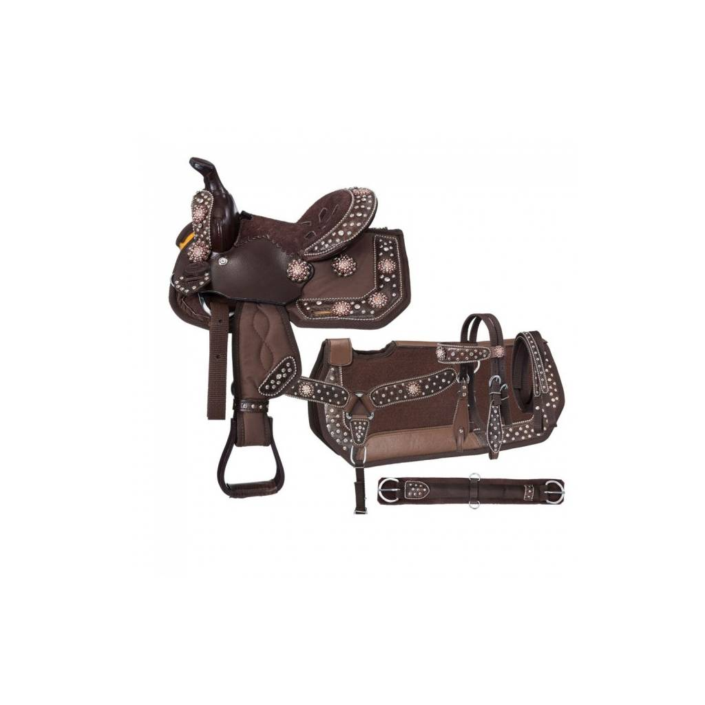 Eclipse By Tough-1 Starlight Copper Pro Pony Trail Saddle - 5 Piece