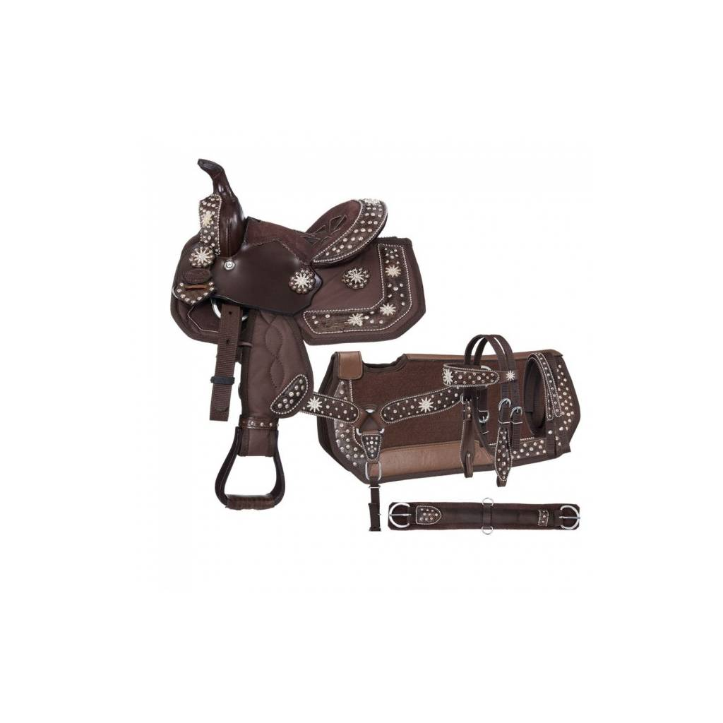Eclipse By Tough-1 Starlight Spur Rowel Pro Pony Trail Saddle - 5 Piece