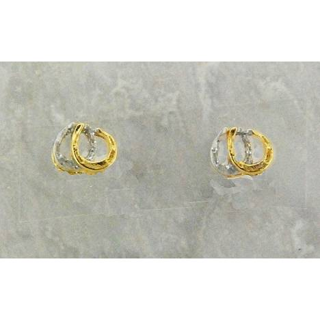 Finishing Touch 2-Tone Double Horseshoe Glitter Earrings