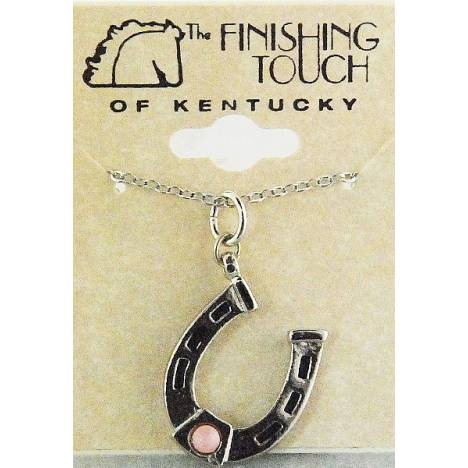 Finishing Touch Horseshoe with 3 mm Stone Necklace - Pink Mussel