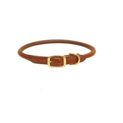Tory Leather Rolled Leather Dog Collar - Oakbark - 12