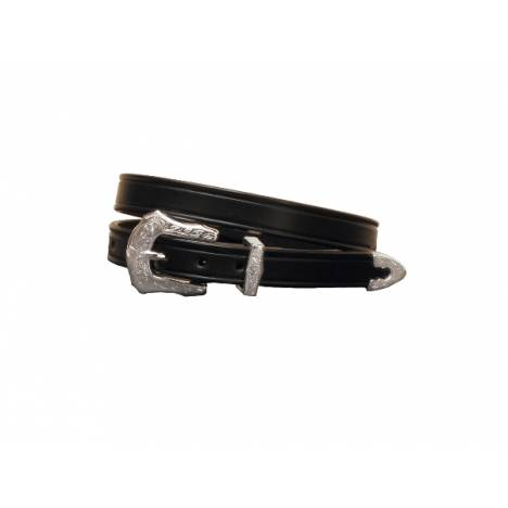 "TORY LEATHER 3/4"" Plain Creased Belt with 3-Piece Engraved Silver Buckle Set"