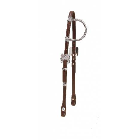 Tory Leather Solid Silver Sliding One Ear Headstall With 3-Piece Sonora Buckle Set