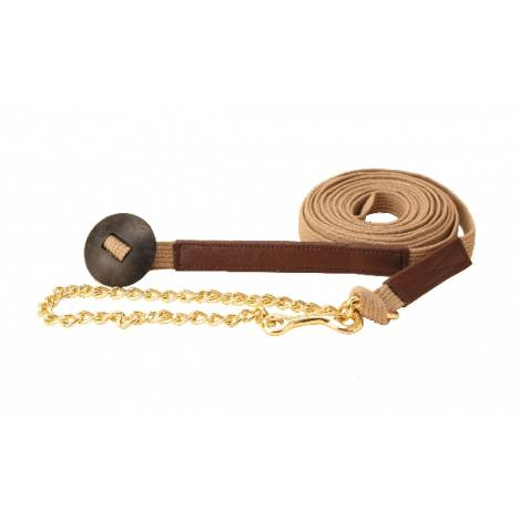 TORY LEATHER Cotton Web & Leather Lunge Line - Brass Plated Chain