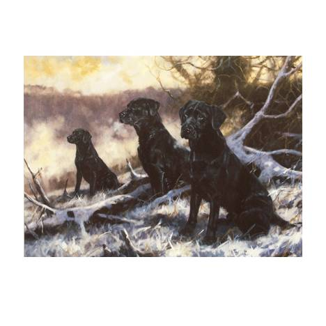 Winter Workers (Labrador Retriever) Blank Greeting Cards - 6 Pack