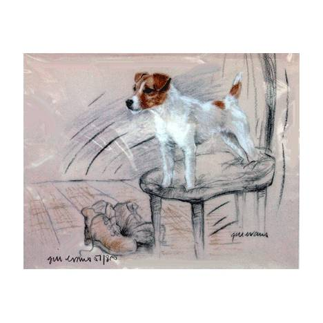 Terrier Standing on a Chair By: Gill Evans, Matted