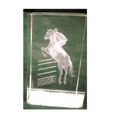 Crystal Weight with Jumping Horse Etching