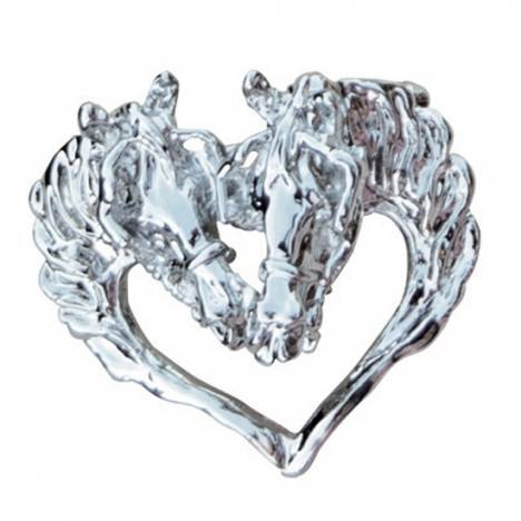 Driving Horse Heads in Heart Pendant