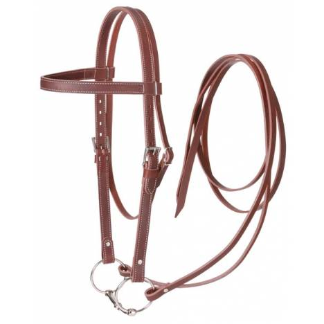 Tough-1 Western Leather Browband Draft Bridle