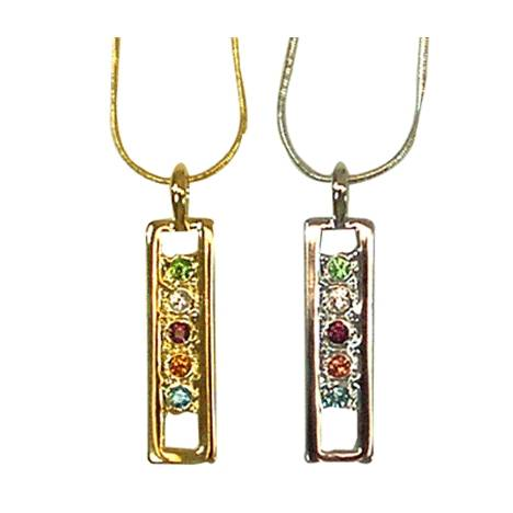Exselle Pendant with Colored Stones