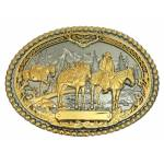 Montana Silversmiths Pack Horses and Rider Two Tone Attitude Belt Buckle
