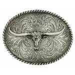 Montana Silversmiths Oval Longhorn Classic Antiqued Attitude Belt Buckle