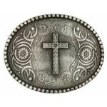Montana Silversmiths Floral Cross Classic Antiqued Attitude Belt Buckle