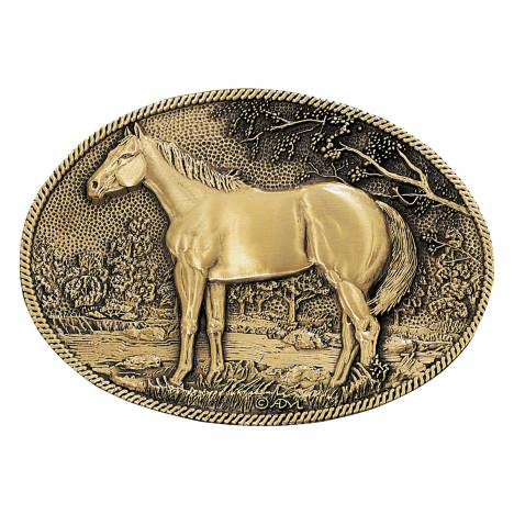 Montana Silversmiths Standing Horse Profile Brass Heritage Attitude Belt Buckle