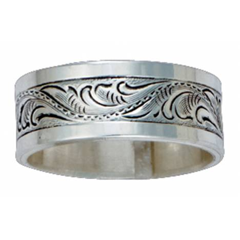Montana Silversmiths Pure Montana Wild Men's Sterling Silver Engraved Band Ring