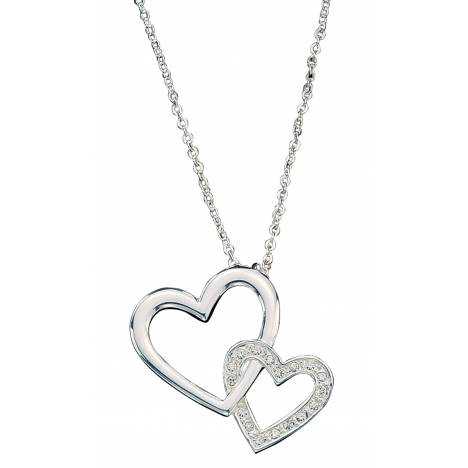 Montana Silversmiths Double Heart with Crystal Necklace