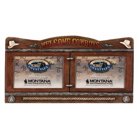 Montana Silversmiths Double Framed Welcome Cowboys Photo Frame and Sign