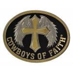 Montana Silversmiths Cowboys of Faith with  Winged Cross Brass Attitude Buckle