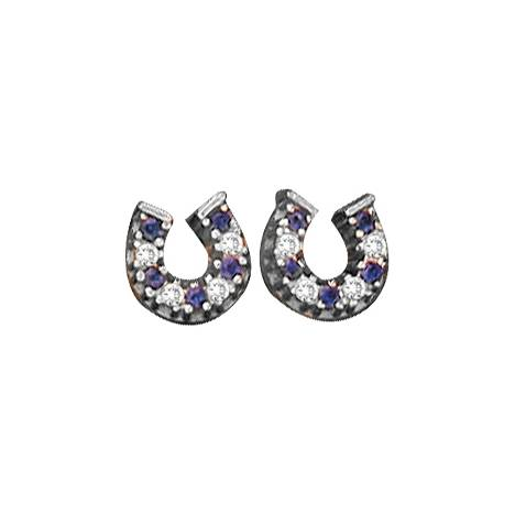 Kelly Herd .925 Sterling Silver Baby Horseshoe Earrings Blue