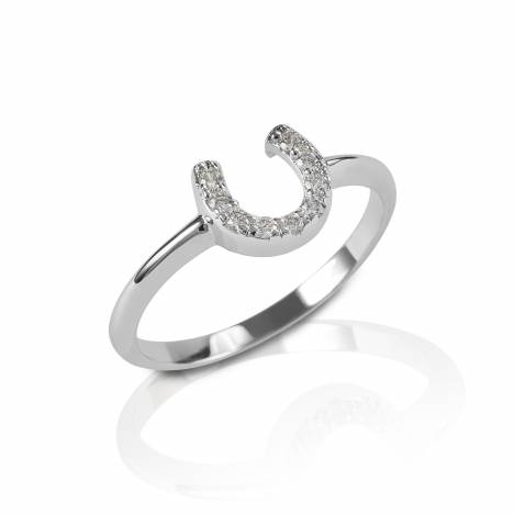 Kelly Herd Clear Horseshoe Ring - Sterling Silver