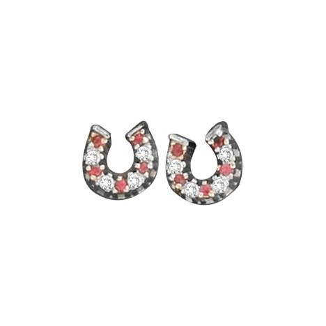 Kelly Herd .925 Sterling Silver Baby Horseshoe Earrings Red
