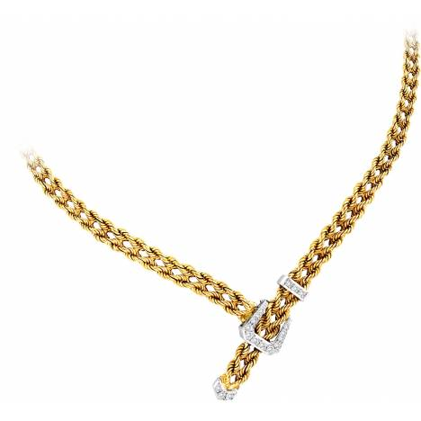 Kelly Herd 14K Gold Rope Braided Buckle Necklace