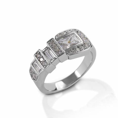 Kelly Herd Clear Ranger Style Buckle Ring - Sterling Silver