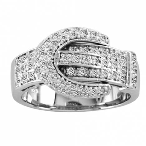 Kelly Herd .925 Sterling Silver Pave Buckle Ring