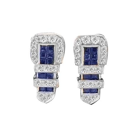 Kelly Herd .925 Sterling Silver Buckle Earrings Blue