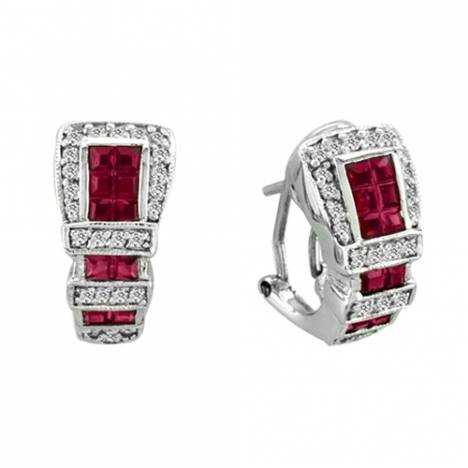 Kelly Herd .925 Sterling Silver Buckle Earrings Red
