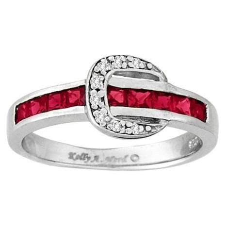 Kelly Herd .925 Sterling Silver Channel Buckle Ring Red