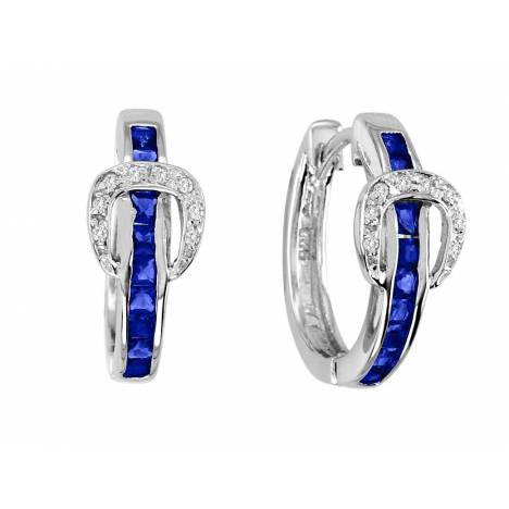 Kelly Herd .925 Sterling Silver Elegant Buckle Earrings Blue