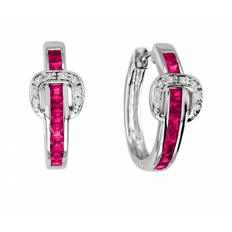 Kelly Herd .925 Sterling Silver Elegant Buckle Earrings Red