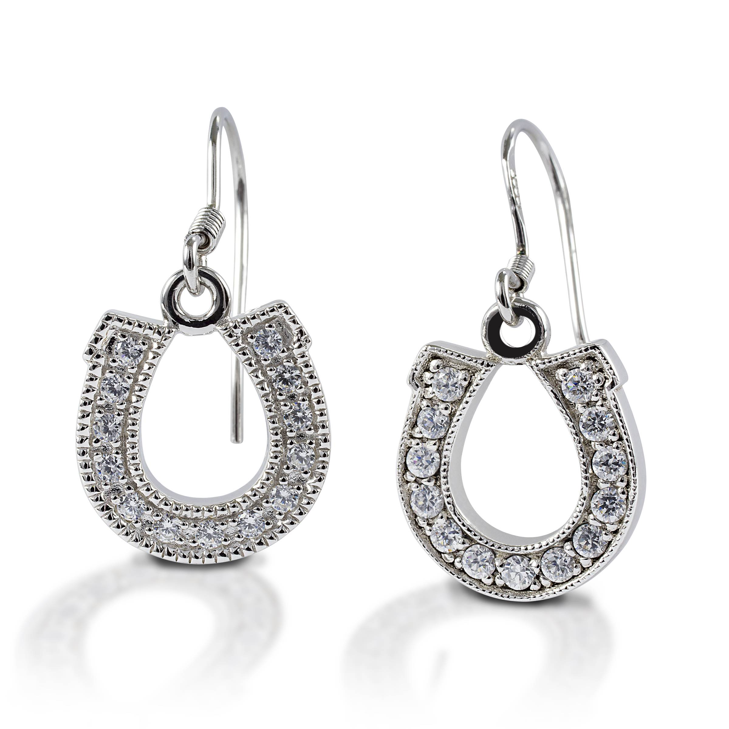 Kelly Herd Dangle Horseshoe Earrings - Sterling Silver