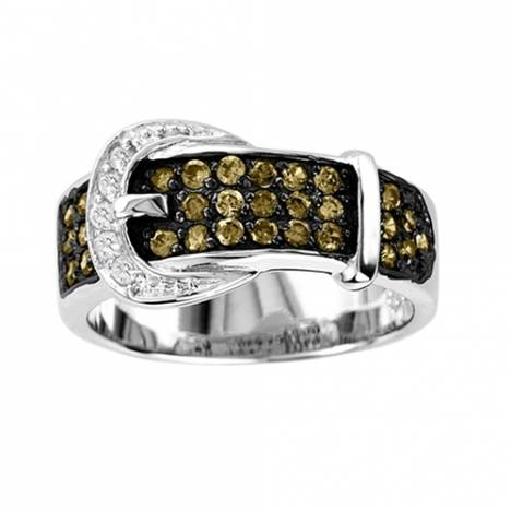 Kelly Herd .925 Sterling Silver Ladies Chocolate CZ Buckle Ring