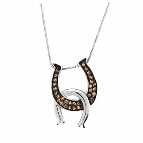 Kelly Herd .925 Sterling Silver Double Horseshoes Necklace Chocolate