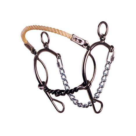 REINSMAN Stage E Short Shank Rope Nose Hackamore-Twisted Sweet Iron Snaffle