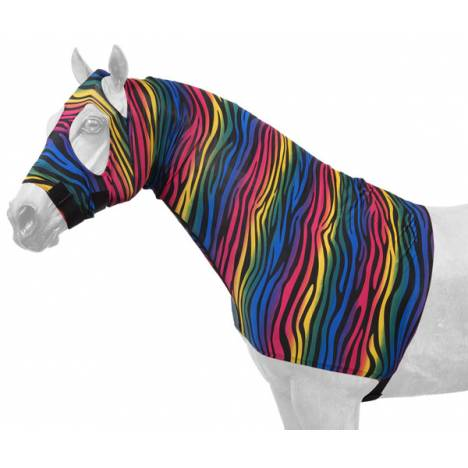 Tough-1 Fleece Lined Lycra Mane Stay Hood - Zebra Prints