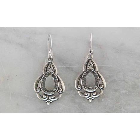 Finishing Touch Dangle Filagree Stamping with Horse Shoe French Wire Earrings