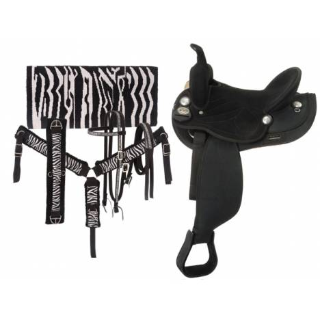 Tough-1 Suede Round Skirt Sparkle Zebra Saddle Package