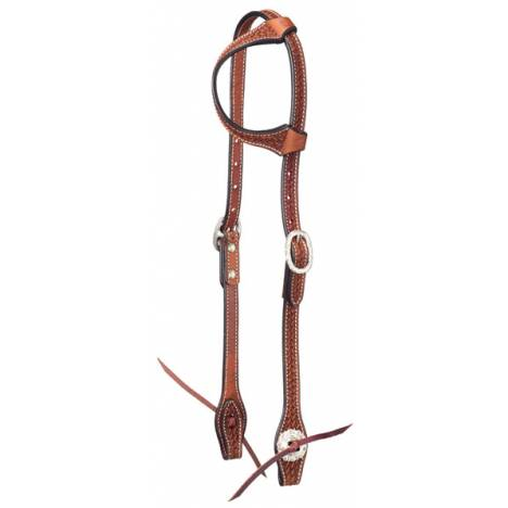 Tough-1 Leather Straight Brow Headstall - Silver Dot with Silver Hardware