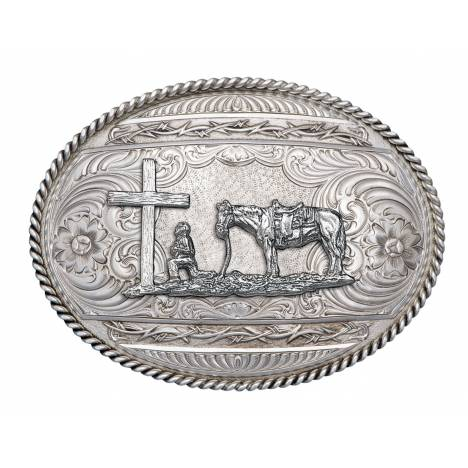 Montana Silversmiths Antiqued Barbed Edge Belt Buckle with Christian Cowboy