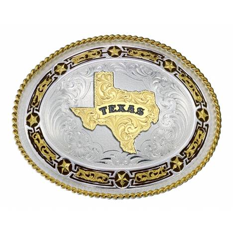 Montana Silversmiths Star Links Western Belt Buckle with State Of Texas