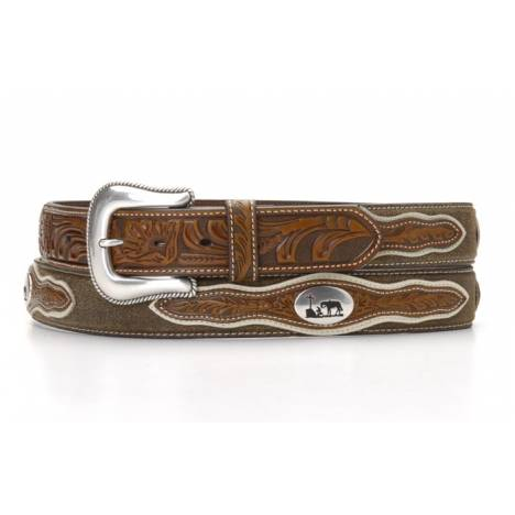 Nocona Mens Cowboy Prayer Concho Two Tone Belt