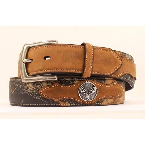 Nocona Mossy Oak Overlay Belt with Skull Conchos