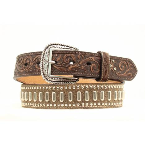 """ARIAT 1 1/2"""" Tooled Mens Belt with studding"""
