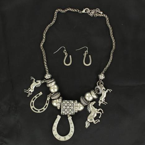 Blazin Roxx Crystal Horseshow Charm and Earring Set