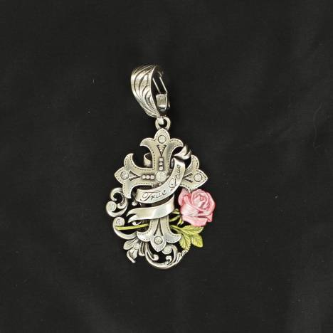 Western Charm Cross with Banner and Rose Pendant