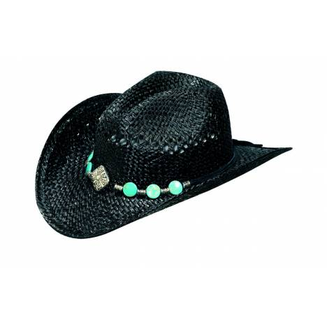 Blazin Roxx Raffia Hat with Diamond & Turquoise Conchos