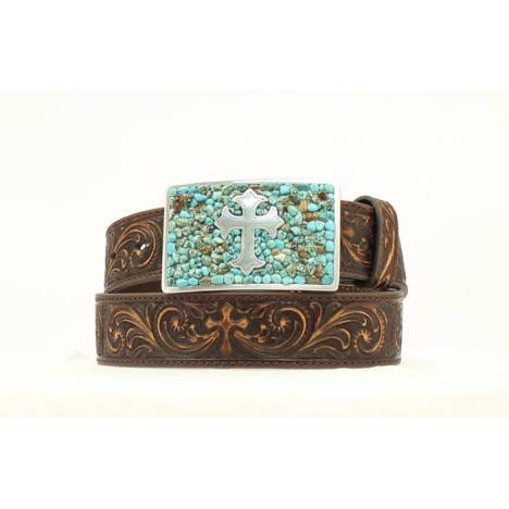 Ladies Tooled Cross with Turquoise Belt Buckle